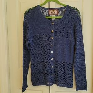 COPY - Tiara Int. Open Weave China Blue Sweater S…